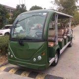 军绿色电动观光车景区观光游览车