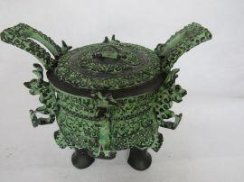 春秋中期青铜器仿古摆件鼎 古玩收藏品青铜王子午鼎 商务礼品