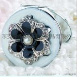 圆形双面镜/光面简易化妆镜 表面滴花朵粘石高档商务礼品赠品