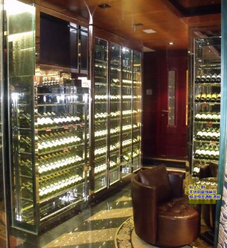 恒温不锈钢酒柜 别墅不锈钢恒湿酒窖 红酒柜展示柜定制