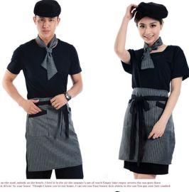 酒店装工作服定做餐厅饭店咖啡厅男女短款条纹半围裙