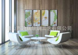 家具装饰沙发背景 三联画 工艺玻璃挂画 雕刻立体装饰画