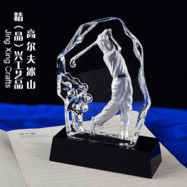 水晶内雕高尔夫奖杯 广州高尔夫赛事奖杯奖牌定制
