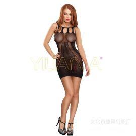 亚马逊速卖通情趣丝袜批发爆款性感提花网眼背心短裙情趣连身短裙