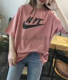 女士T恤大版短袖时尚库存服装女装上衣纯棉t恤