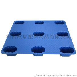 厂家1.2*1米平板吹塑托盘九脚塑料叉车托板
