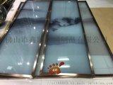 定制不锈钢玻璃屏风特色夹绢山水画玻璃屏风