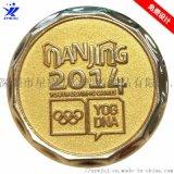 南京青奧會徽章定制2014運動會紀念徽章電鍍金色