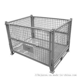 定做方管铁框仓储笼网格铁皮周转箱储物笼堆垛废料箱