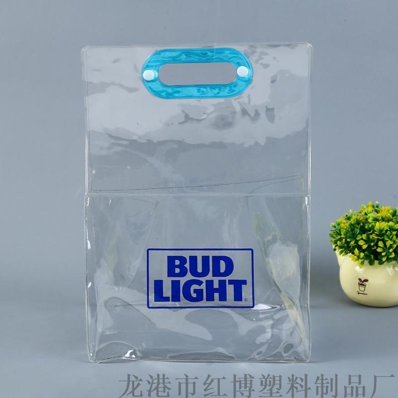 廠家定製飲料酒水六瓶裝包裝袋 PVC立體禮品手提袋