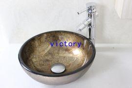 时尚手绘艺术洗脸盆 洗漱盆 台上盆 面盆 台盆 钢化玻璃盆 洗手池 梳妆台盆 N-106
