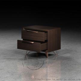 现代床头柜置物架收纳柜实木卧室床边柜子原木胡桃色