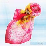 桃底菊花絲巾
