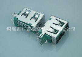 深圳连接器厂家USBAF10.0侧插绿胶红胶蓝胶侧插短体母座USB连接器