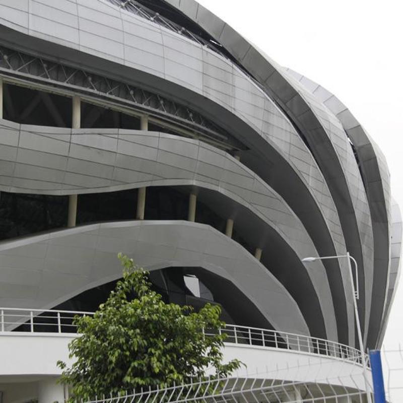 中山建材厂家定制弧形铝方通大堂酒店仿木纹波型铝单板