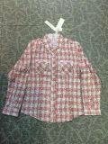 純棉女裝歐美韓版印花修身格仔襯衫