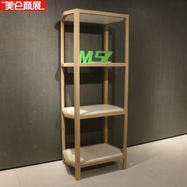 **服装店货架展示柜 男女装饰品架实木贴皮鞋架包包架