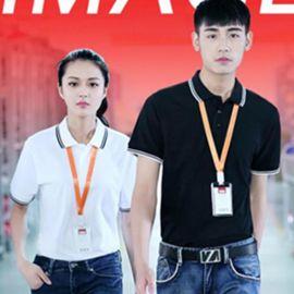 間色領寬鬆短袖polo衫翻領T恤男女工作服定制
