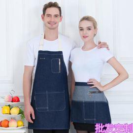 奶茶店服务员牛仔围裙工作服围裙系腰餐厅西餐围裙