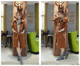 大码女装折扣羊驼绒大衣货源市场 品牌折扣女装羊驼绒大衣
