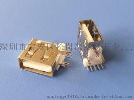 USB 2.0 A母侧插短体母座 5P 三脚固定插座 鱼叉脚 带开关功能