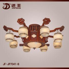 红木云石灯红木灯饰实木吊灯