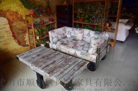 美式复古带轮子实木沙发 工业风做旧休闲沙发 可定制尺寸