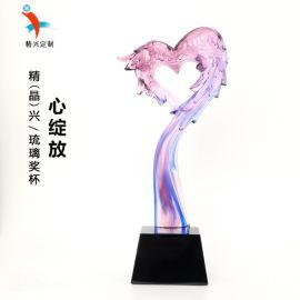 心形琉璃獎杯 廣州獎杯定制 年度個人獎杯獎牌