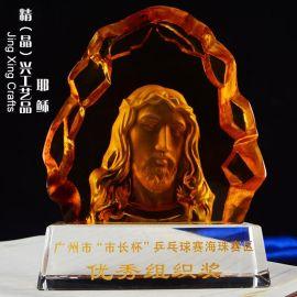 耶稣水晶摆件,**活动节日聚会水晶纪念礼品