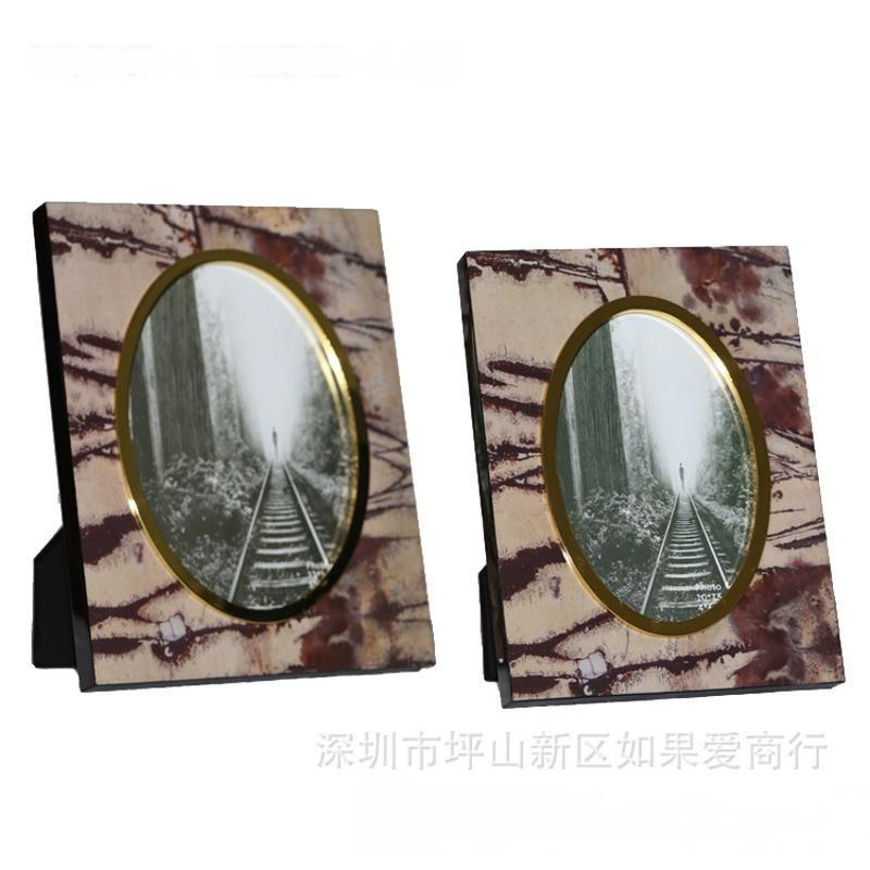 內橢圓形相框金色色內框山水石材紋理木質鋼琴烤漆鋅合金相框擺臺