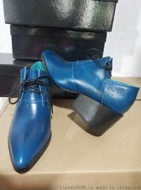 粗跟尖头鞋 男女中性鞋 时装真皮鞋