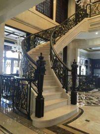 酒店工程钢结构楼梯栏杆定制 室内楼梯铁栏杆 楼梯栏杆