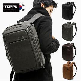 韩国toppu多功能双肩包pu皮韩版大学生书包男士背包大容量旅行包