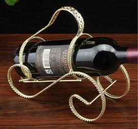 厂家直销欧式特色酒瓶架 时尚铁艺红酒架 家居摆件麻花扭线红酒架