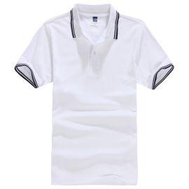 翻領T恤女短袖條紋運動POLO衫 夏季有帶領體恤半袖工作服定制LOGO