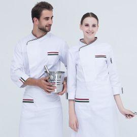 工作服长袖纯棉大码厨师长酒店西餐厅男女秋冬厨师服装可刺绣logo