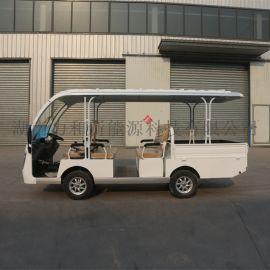 白色改裝電動觀光車,帶貨欄