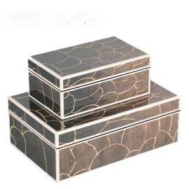 鱼鳞纹路钢琴烤漆亚克力首饰盒简约收纳盒软装饰品样板间饰品摆件