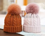 女式保暖帶頂球棉晴針織帽子
