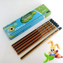 学生文具用品hb铅笔定制 沾头沾顶抽条木塑铅笔 铅笔厂家批发直销