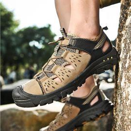 徒步涼鞋復古大碼夏戶外包頭鞋鏤空洞洞鞋透氣皮涼鞋速幹越野跑鞋