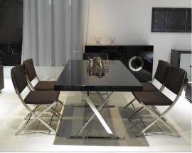 后现代A-810不锈钢餐桌人造板黑色餐桌