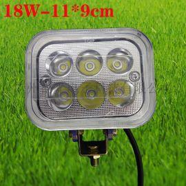 厂家直销 18W工作灯 汽车拖拉机摩托车射灯 方形LED工作灯检修灯