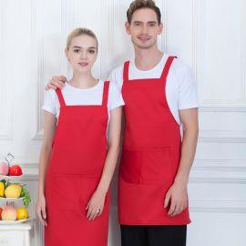 圍裙定制logo印字防水純棉廚房韓版時尚奶茶咖啡店工作服定做男女