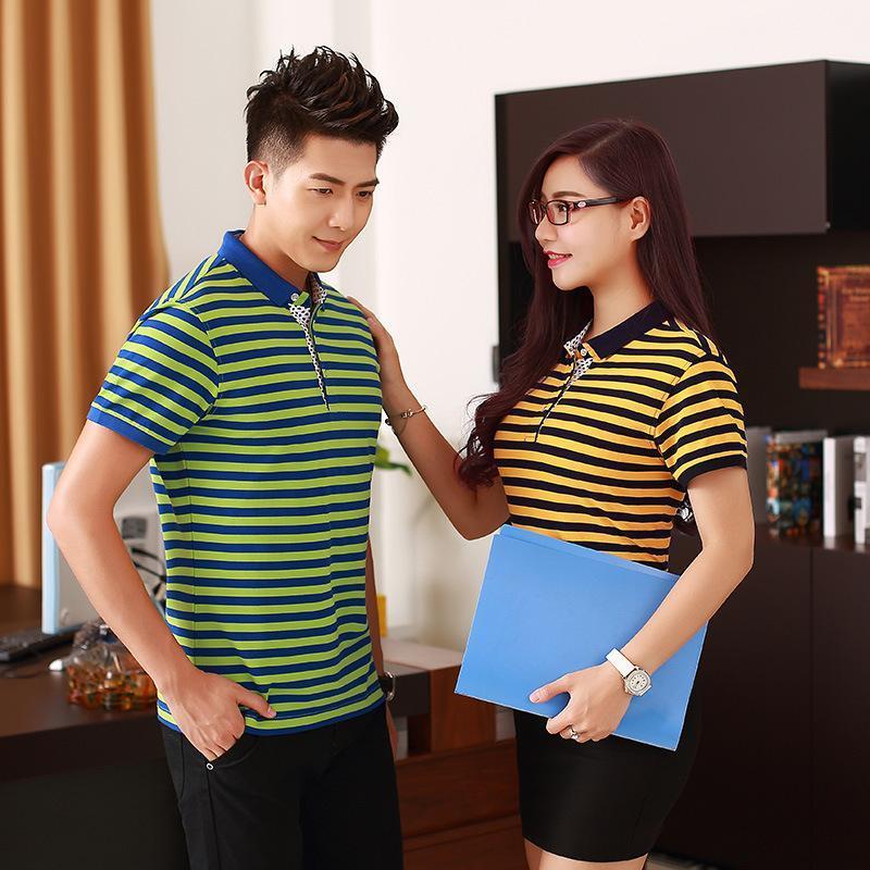 高端情侶裝翻領POLO衫員工作服學生班服條紋t恤廣告衫刺繡LOGO