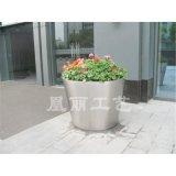 不鏽鋼啞光面花盆花箱 圓形花箱定製廠家 廣州不鏽鋼花盆花箱花器