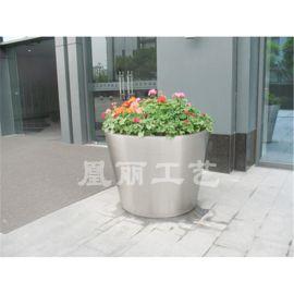 不锈钢哑光面花盆花箱 圆形花箱定制厂家 广州不锈钢花盆花箱花器