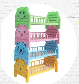 厂家大量批发幼儿园实木双层床 卡通塑料床   工厂宿舍上下铺床