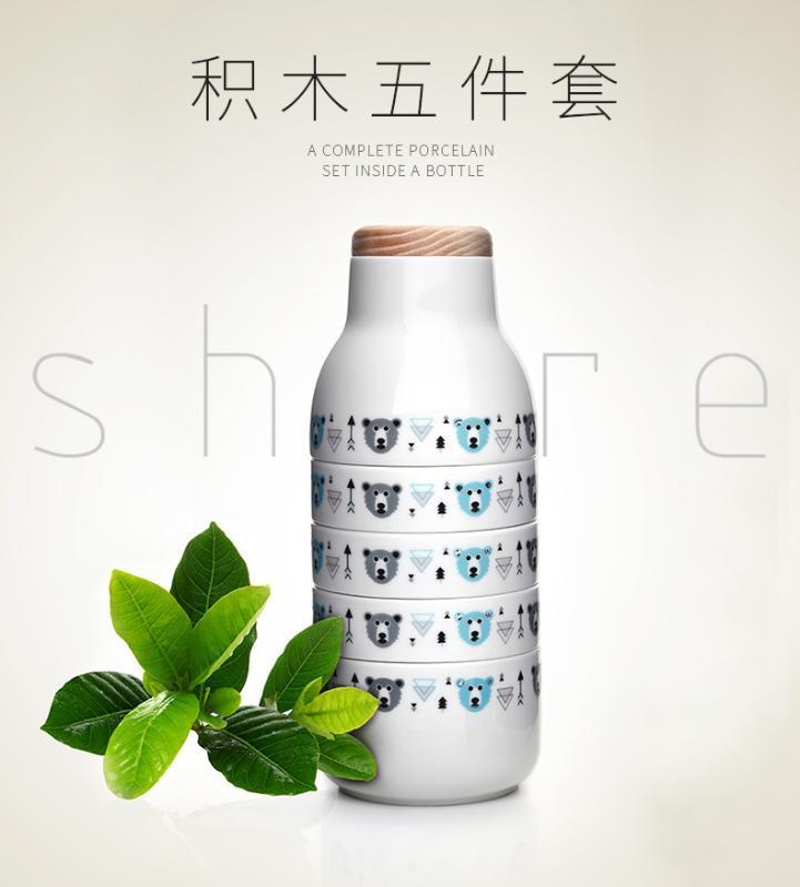创意组合陶瓷杯子 下午茶伴侣 组合茶具 多功能花瓶