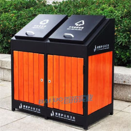 大号户外垃圾桶果皮箱钢木小区垃圾桶室外分类垃圾箱